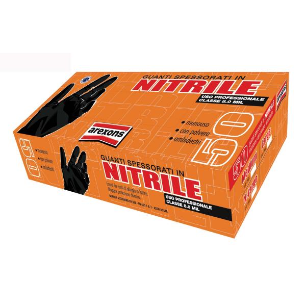 Confezione 50 pezzi guanti in nitrile spesso taglia L